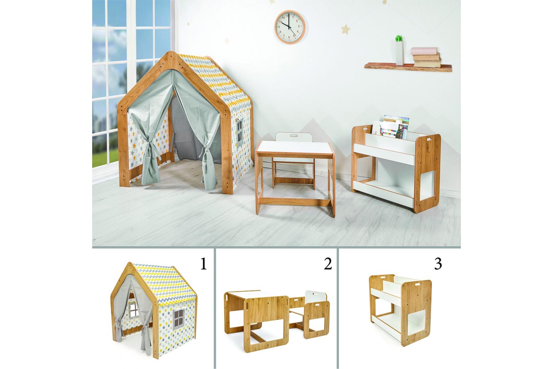 Çocuk Oyun Evi, Masa Sandalye ve Kitaplık Seti